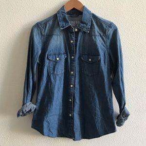GAP women's denim western snap front shirt jean S